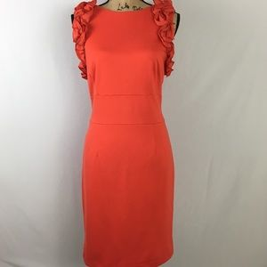 NWT Carmen Marc Valvo Stretch Coral Dress Sz 14